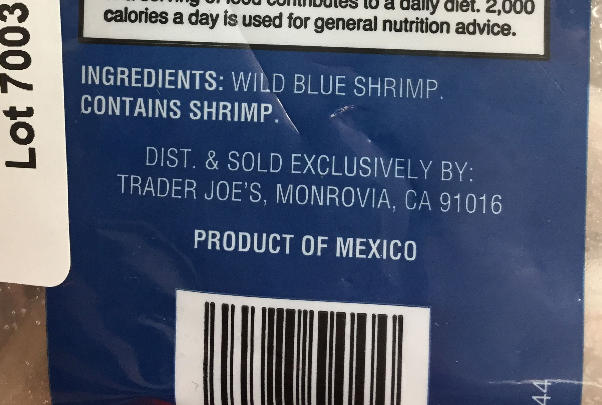 Label of shrimp from Mexico at Trader Joe's